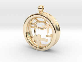 Shikigami Standing Paper Bird Pendant in 14K Yellow Gold