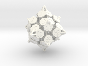Player Order Die - 3D Print Only Version in White Strong & Flexible Polished