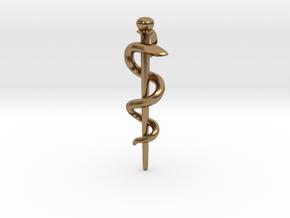 Snake rod pendant (medicine) in Natural Brass