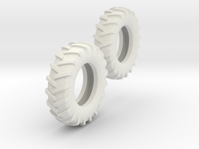 1:64 14.9-28 Tire Pair in White Strong & Flexible