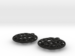 Cell Earrings - small in Black Natural Versatile Plastic