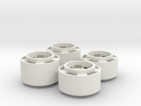 Mini-z F1 Wheelset with -2.5mm standard offset in White Natural Versatile Plastic