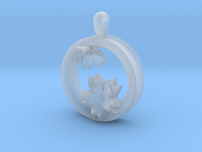 Cherry Blossom 1 Inch Pendant in Smooth Fine Detail Plastic