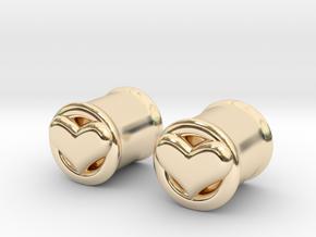 Heart 10mm (00 gauge) tunnels in 14K Yellow Gold