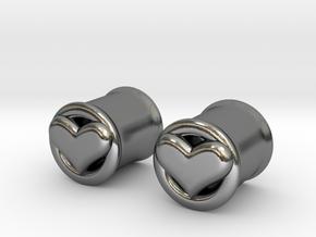 Heart 10mm (00 gauge) tunnels in Polished Silver