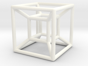 "1"" Wireframe Hypercube in White Processed Versatile Plastic"