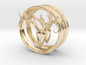 3 Inch Antler Tunnels in 14K Yellow Gold