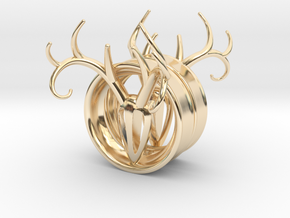 1 & 13/16 inch Antler Tunnels in 14K Yellow Gold