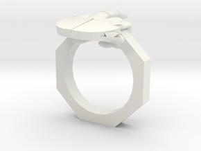 Finger Ring in White Natural Versatile Plastic