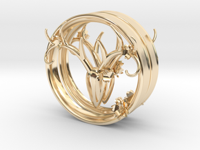 3 Inch Feminine Antlers (72.6mm) tunnels in 14K Yellow Gold