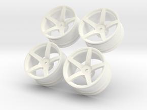 1/10 Touring Car Vossen CV3 Wheel Set  in White Processed Versatile Plastic