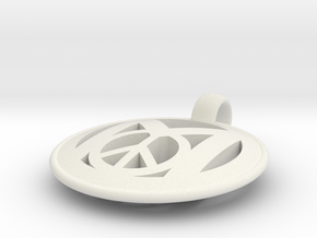 Millennial Peace Pendant (does not include cord) in White Natural Versatile Plastic