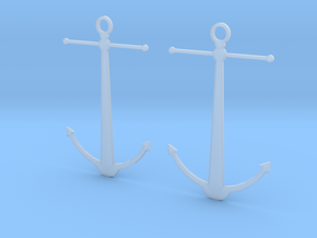 Anchor Earrings in Smooth Fine Detail Plastic