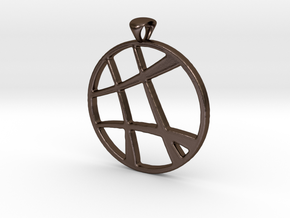 Lines Pendant 3mm in Polished Bronze Steel