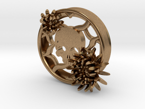 2 Inch Chrysanthemum And Skull Tunnel (left) in Natural Brass