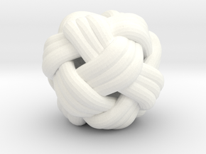 Tiny Turks Head Knot in White Processed Versatile Plastic