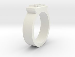 Geek Ring Size 11 in White Natural Versatile Plastic