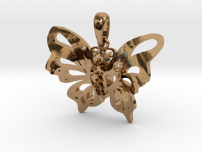 Butterfly Pendant in Polished Brass