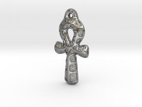 Ankh Pendant - Textured in Natural Silver