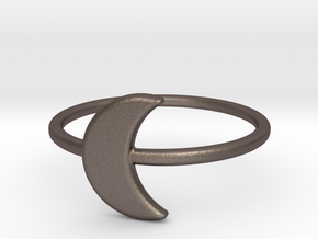 Midi Moon Ring by titbit in Polished Bronzed Silver Steel