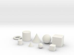 Primitive objects for test printing_V1.2 in White Natural Versatile Plastic