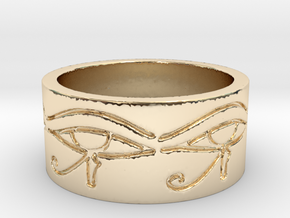 Egyptian Eye Of Horus Ring Size 7 in 14K Yellow Gold