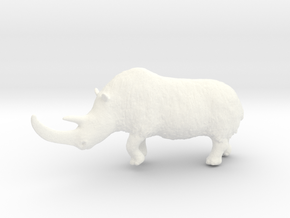 Woolly rhinoceros in White Strong & Flexible Polished