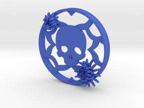 Chrysanthemum Skull Plug 4 Inch gauge Left in Blue Processed Versatile Plastic