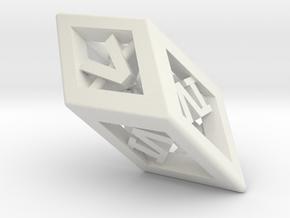 Crystal Dice Pendant (Roman Numerals) in White Natural Versatile Plastic