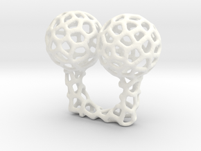 Vorronoi Ring in White Processed Versatile Plastic