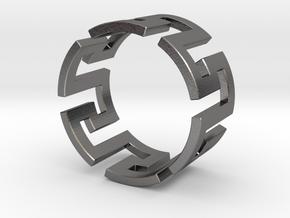 Meander Ring x6 in Polished Nickel Steel