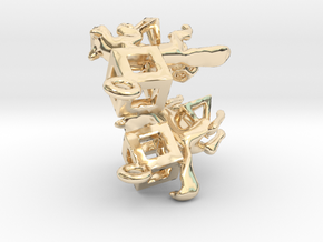 Fox in polygons Earrings set in 14K Yellow Gold