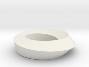 Mobius Loop - Square 1/4 twist in White Natural Versatile Plastic
