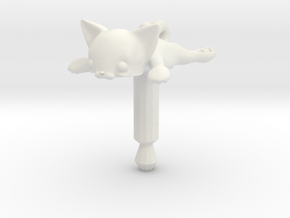 Flat Cat, Jack Protector Audio in White Natural Versatile Plastic