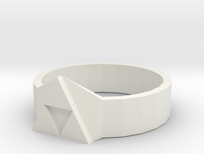 Tri-Force Ring (size 10 Ring) in White Natural Versatile Plastic