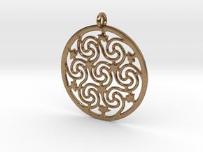 Celtic Seven Spiral Pendant in Natural Brass