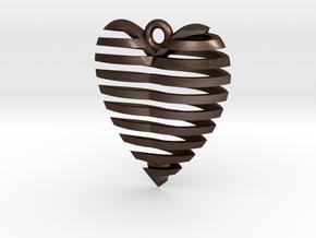 Heart Spiral Pendant in Matte Bronze Steel