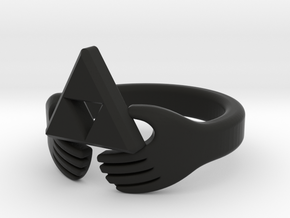 Triforce Claddagh Ring in Black Strong & Flexible