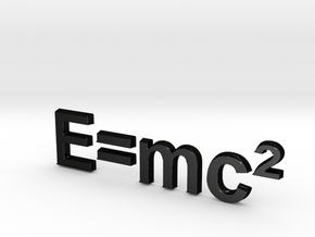 E=mc^2 3D D in Matte Black Steel