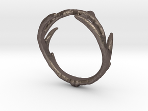 Antler Ring in Polished Bronzed Silver Steel