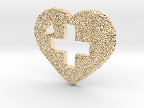 Love Switzerland Heart 3D in 14K Yellow Gold