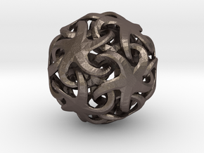 Linking Stars With Twist 26mm in Polished Bronzed Silver Steel
