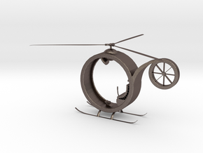 One Man Helicopter in Polished Bronzed Silver Steel
