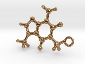 Caffeine Molecule Earring / Pendant Silver in Polished Brass