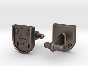 Heraldic Cufflinks (Echeverría) in Polished Bronzed Silver Steel
