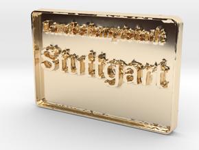 Landeshauptstadt Stuttgart 3D 50mm in 14K Yellow Gold