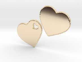 LOVE 3D Hearts 80mm in 14K Gold