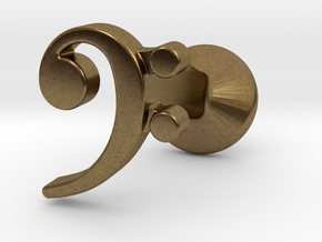 Bass Clef Cufflink (single) in Natural Bronze