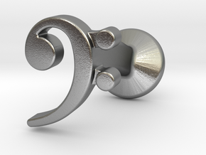 Bass Clef Cufflink (single) in Natural Silver