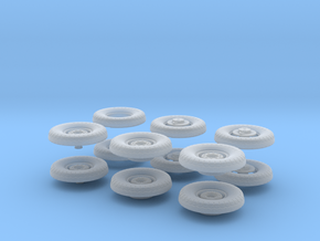 1:35 Scale 18 24 240mmgun Wheels in Smooth Fine Detail Plastic